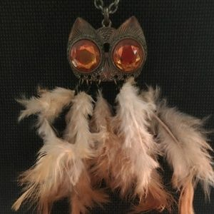 Owl Necklace with Feathers Vintage 24 Inch